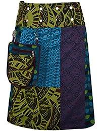 TATTOPANI Ropa de mujer multicolor reversible Tanto lateral del abrigo de la falda redonda Hippy Popper