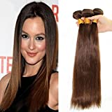 14 16 18 3bundles: Superwigy 100% Human Hair Long Straight Dark Brown #4 Remy Hair for Women (14 16 18 3bundles)