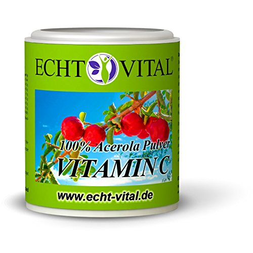 ECHT VITAL Vitamin C Pulver | 100% Hochdosiertes Acerola Kirsche Extrakt | Natürliches Vit C | Laborgeprüft und hergestellt in Deutschland | Rein, Vegan und ohne Zusatzstoffe | 100 g -