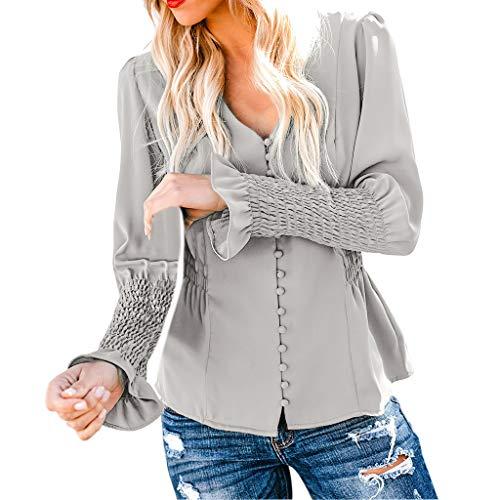 Damen Freizeithemd, Langarmshirts Soild Farbe Kragen Geknöpfte V-Ausschnitt Slim Fit T-Shirt Tägliche Party Office Bluse (Grau,S)