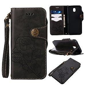 Lomogo [Vintage Rose Galaxy J7(2017)/j730/J7Pro (2017) Leder Wallet Schutzhülle Kreditkartenetui Magnetverschluss stoßfest mit Ständer Flip Schutzhülle für Samsung Galaxy J7(2017) –