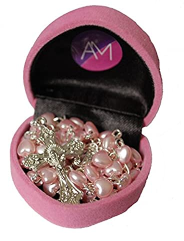 Girls My First Rosary Beautiful Baby Pink Heart Rosary Beads In Heart Shaped Gift Box - Perfect Present by Amelia Mae