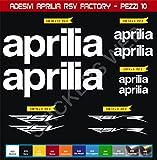 Adesivi stickers APRILIA RSV RACING FACTORY kit 10 Pezzi -SCEGLI COLORE- moto motorbike Cod.0552 (Bianco cod. 010)