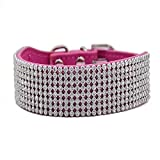 Diamant Hundehalsband Voll Bling Strass Halsbänder Wild Leder Luxus Design Verstellbar S M für Klein Mittlere Hunde, Rosa S
