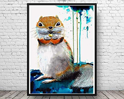 Aquarell Eichhörnchen Kunstdruck★ Eichhörnchenbild★ handgemalt -