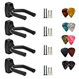 Lot de 4 Guitare Cintre Crochet support mural pour écran support de guitare acoustique Ukulélé basse Mandoline Banjo Supports muraux cintres Noir avec 10 pcs médiators
