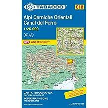 Alpi Carniche Orientali, Danal del Ferro: Wanderkarte Tabacco 018. 1:25000 (Cartes Topograh)