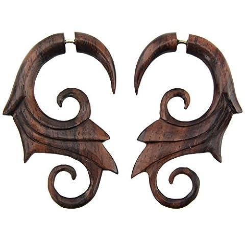 Feather Swirl - Steel Pin Dangle Cheater Earrings - Sono Wood Earrings