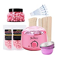 walmeck 7-in-1 Hair Removal Depilatory Set Wax Bean Warmer Heater Machine with Hard Wax Beans & Hair Removal Stick & Melting Wax Bowls