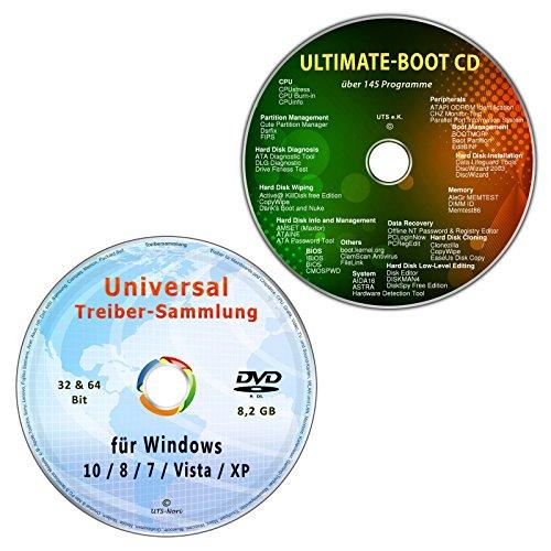 Universal Treiber-Sammlung für Windows 10-8-7-Vista-XP (32 & 64 Bit) + Ultimate Boot / Ersthilfe & Notfall-CD [System-Diagnose- und Reparatur-Werkzeuge] (2 CD/DVD-Set) (Dell Wlan-drucker)