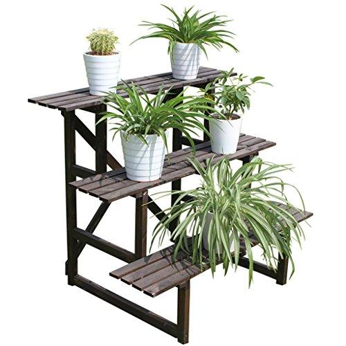 & Pot rack Support de fleur en bois massif Terrasse extérieure en plein air Piège trapézoïdal anti-corrosion Stand en bois à trois niveaux Pots à fleurs décoratifs ( Couleur : A , taille : 1 )