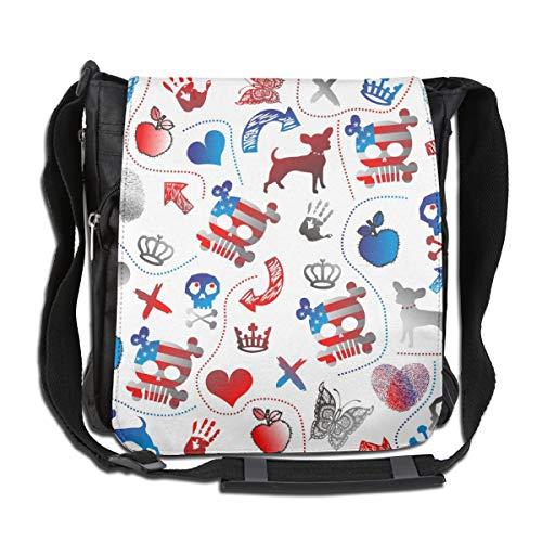 Doinh Flag Umhängetasche, Totenkopf, Hund, Schmetterling, Apfel und Fingerabdruck, Leinen, für Damen und Herren geeignet