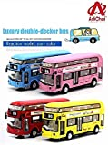 Adichai Die Cast Metal Double Decker London Bus for Kids Pull Back Play Toy Set with Lights and Music for Kids ( Random…