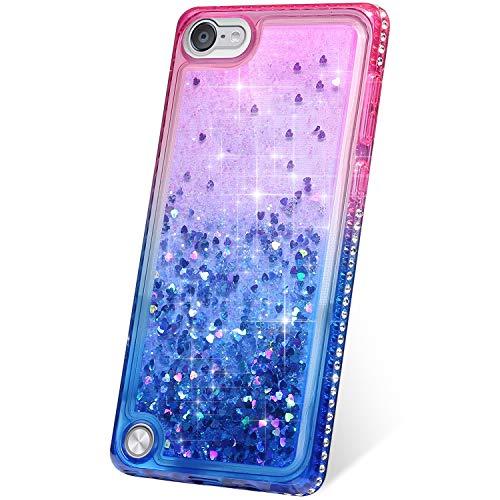 Kompatibel mit iPod Touch 5 Hülle,iPod Touch 6 Hülle Handyhülle Glitzer Strass Diamnat Bumper Case,3D Flüssig Treibsand Glitter Quicksand TPU Bumper Silikon Schutzhülle Glänzend Cover (Rosa Blau)