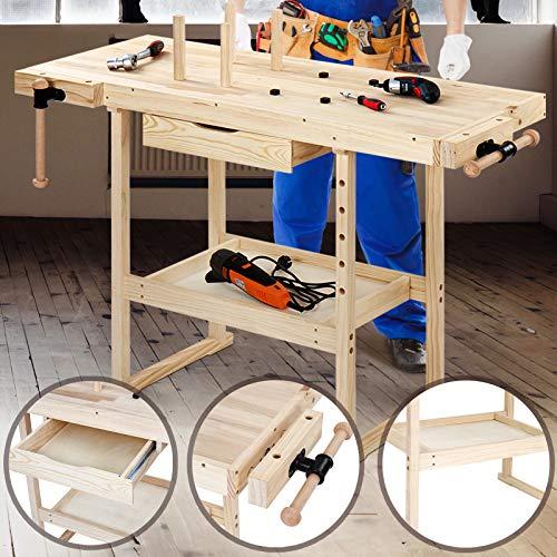 Werkbank aus holz mit Spannzange und Schublade | 127x57,5x82,5 cm, bis 200 kg belastbar | Hobelbank erwachsene, Werktisch Schraubstock