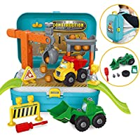 Construction Vehicles Pretend Play Set With Take Apart Truck Assemble Bulldozer Building Toy for Boys Kids