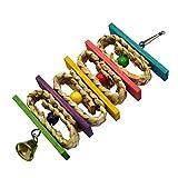 Lazzykit Vogel Holz Spielzeug Swing Leiter Bunt Perlen Hängend Klettern Spielzeug mit Glocke Kauspielzeug für Papagei Parakeet Kriechen Brücke