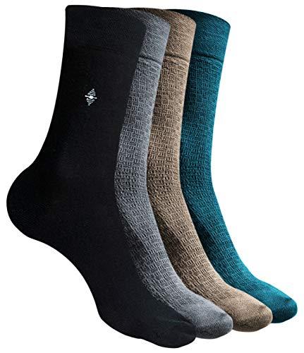 Calcetines hombres ejecutivos de bambu – Pack de 12 pares – Talla 41 46 – Color negro, marron, azul, marron y gris - Amadeos Ecologicos