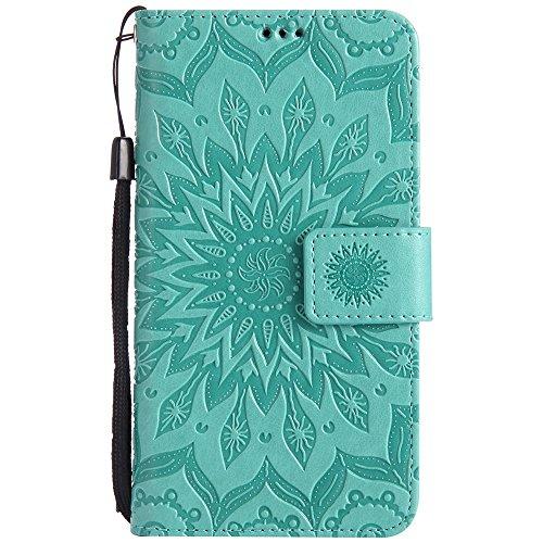 Für Huawei Y625 Fall, Prägen Sonnenblume Magnetische Muster Premium Weiche PU Leder Brieftasche Stand Case Cover mit Lanyard & Halter & Card Slots ( Color : Red ) Green