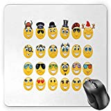 BGLKCS Emoji Mouse Pad Tappetini per Il Mouse, Cartoon Style Expressions with Many Themes Viking Police Christmas Cinema Pirate Rectangle Non-Slip Rubber Mousepad