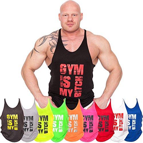 C.P. Sports Tank Top, Muskelshirt, Stringer-Tank-Top, Fitness Shirt, Kraftraining, S627 (Neonpink, S)