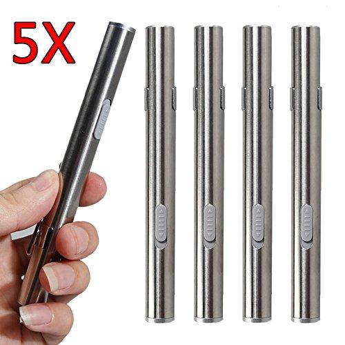 5 Stück USB Mini Taschenlampe Edelstahl Diagnostikleuchte Medizinische, Wiederaufladbare Stiftlampe Mini Taschenlampe mit Clip + USB Kabel