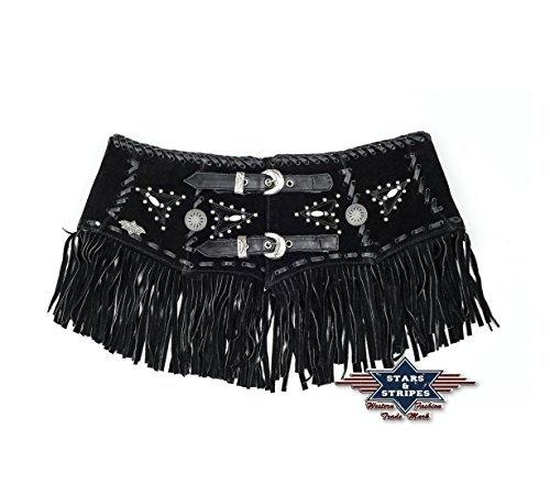 Stars & Stripes Country schwarzer Ledergürtel Dame - Celia - Gr. S - Sexy Wild West Line Dance Kleidung (Wild Kleidung West Wild)