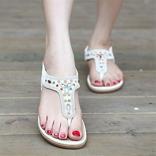 Minetom Femmes de Bohême Plage Sandales été Tongs Flip Flops Faux Diamant Plat Chaussures Blanc