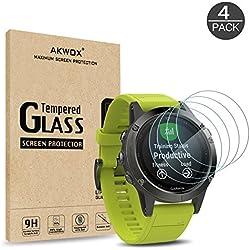 [4 Unidades] Protector de Pantalla para Garmin Fenix 5 Akwox [9H Dureza] Cristal Vidrio Templado para Garmin Fenix 5 Cristal Templado