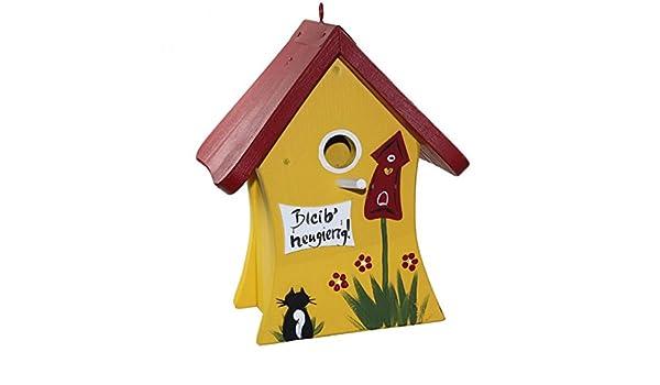 Die Vogelvilla Set Vogelhaus Nistmini BLEIB NEUGIERIG Futterhaus Nistkasten Wildv/ögel Farbe:Pink