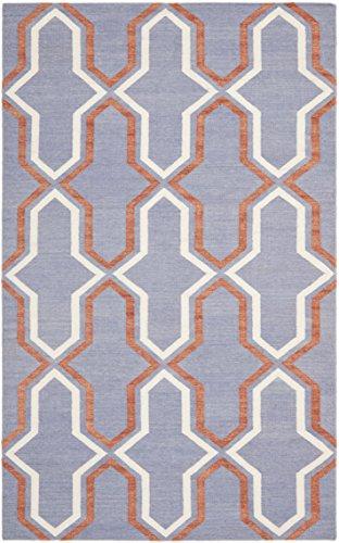 Safavieh Aklim Handgewebtes Flachgewebe Teppich, Wolle, Lila / Mehrfarbig, 121 x 182 cm (Safavieh-teppiche Lila)