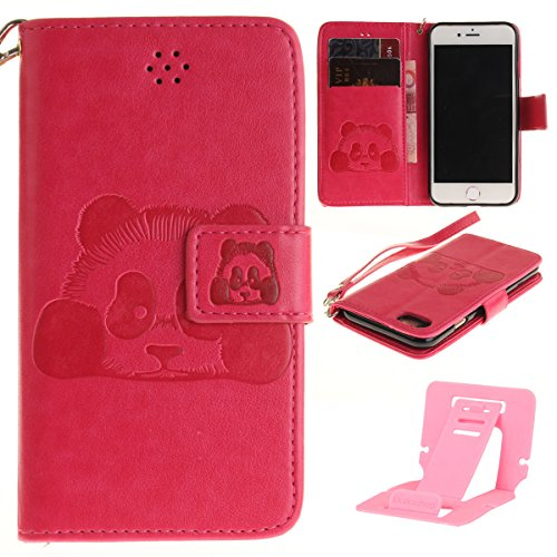 Ekakashop Custodia iphone 7 4.7 inch, Cover iphone 7 2016 model, Elegante borsa Custodia in Pelle Protettiva Flip Portafoglio libro Case Cover per Apple iphone 7 4.7 inch / con Carte Slot / Chiusura M Rosa caldo