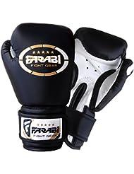 Farabi Sports - Guantes de boxeo para niños (piel sintética, 113 g), color negro