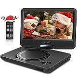 """WONNIE 9.5"""" Tragbarer DVD-Player drehbares HD Display 4 Stunden Akku, Unterst�tzt USB/SD Slot, AV Out/IN, mit 1.5M Auto-Ladeger�t und Stromadapter (Schwarz) Bild"""