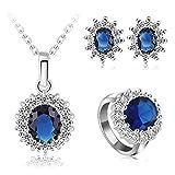 AnazoZ Damen Schmuckset Ohrringe Ring Halskette mit Anhänger, Saphir Zirkonia Hochzeitsschmuck für Frauen mit Geschenkbox Gr. 51 (16.2)