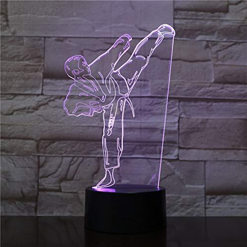 3D Lampe,Farben Nachtlicht Kreative 3D Led Licht Gradient Vision Karate Tischlampe Usb Taekwondo Schlafzimmer Beleuchtung Dekor Geschenk Mit fernbedienung