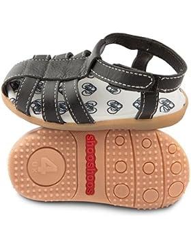 ShooShoos - Zapatitos de piel suela dura, sandalias negras
