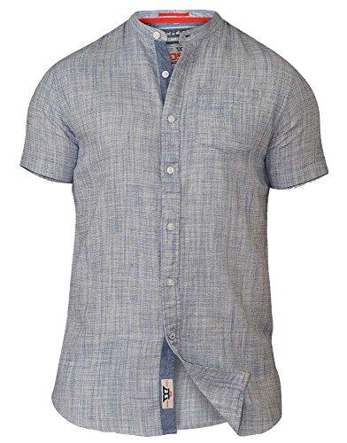 D555 Herren Blusen Freizeit-Hemd, Einfarbig blau blau XX-Large Blau