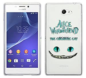 c0142 - Alice in Wonderland The Cheshire Cat Design Sony Xperia M2 Fashion Trend Protecteur Coque Gel Rubber Silicone protection Case Coque