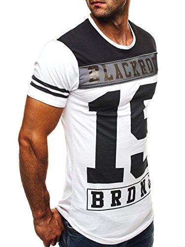 OZONEE Herren T-Shirt mit Motiv Kurzarm Rundhals Figurbetont BLACK ROCK 512058 Weiß