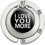 I Love You More on Black Foldable Table Bag Purse Caddy Handbag Hanger Holder Hook with Folding Compact Mirror