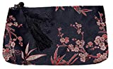 Bees Knees Fashion Sacchetto per il trucco con cerniera grande ricamato foglia di bambù nero
