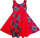 JJ55 Girls Red Checked Contrast Dress Party Age 14 Years