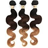 12 Inch : Superwigy rosa hair 1B/4/27 Ombre brazilian virgin Hair body wave,Ombre human hair one bundle 50g blonde color ombre hair extension