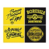 Borussia Dortmund Aufkleberkarte Retro, Aufkleber, Sticker 4er BVB 09 - Plus Gratis Lesezeichen I Love Dortmund