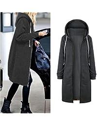 6be90a4efdc9 Kolylong® Sweatshirt Damen Frauen Elegante Lange Mantel mit Kapuze Herbst  Winter Warm Zipper Kapuzenjacke Locker