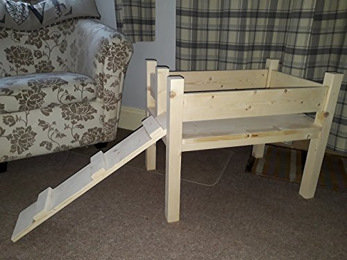 Handmade, single tier, raised with ramp, for small breed of dog.