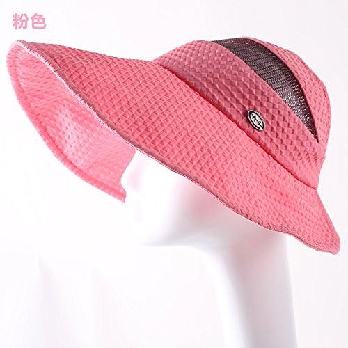 Columbia Womens Visor (GAOQIANGFENG Der Sommer hat Lady leeren Hut, Kappe Visor Falten Sonne Helm Cap entlang Sonnenhut, verstellbar, Rosa)