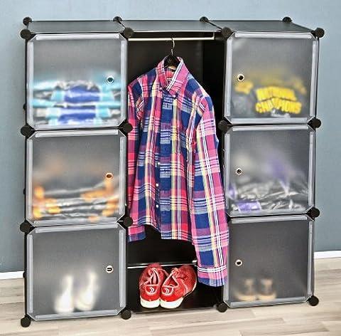 ts-ideen Armoire à vêtements Commode Meuble de rangement Entrée, chambre, salle de bains Noir/blanc