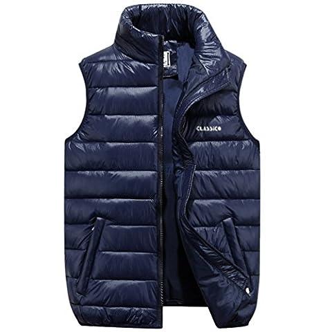 NiSeng Doudoune Sans Manche Gilet Ultra Légère Veste Manteau Parka Blouson Zippée Hiver pour Homme Bleu Blanc foncé L